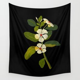 Mary Delany Vinca Rosea Vintage Botanical Art Black Background Realistic Floral Arrangement Wall Tapestry