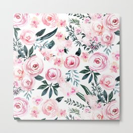 Floral Rose Watercolor Flower Pattern Metal Print