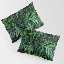 Summer Greenery, Green & Black, Floral Painting Pillow Sham