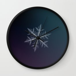 Real snowflake macro photo - Neon Wall Clock