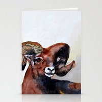 ram Stationery Cards featuring Ram  by Woolpecula