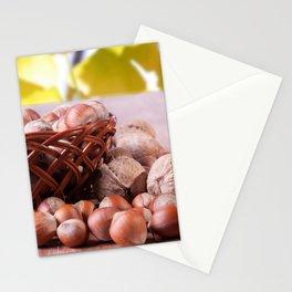 A basket of hazelnuts Stationery Cards
