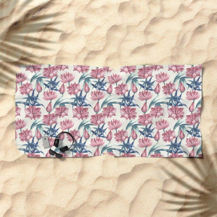 Oriental Flowers Beach Towel