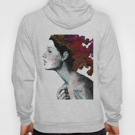 Moral Red Eclipse (colorful hair woman with moths tattoos) Hoody