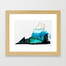 Abstract Blue Ridge Mountains Virginia Watercolor Framed Art Print