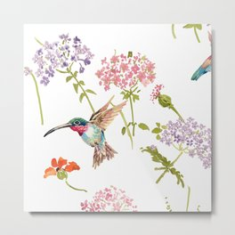 Hummingbird floral Metal Print