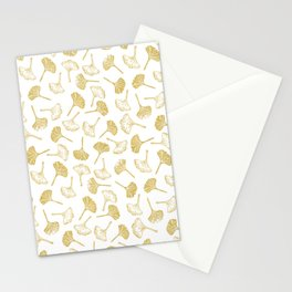 Ginkgo Biloba linocut pattern GLITTER GOLD Stationery Cards