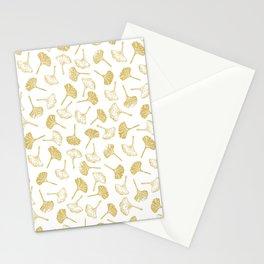 Ginkgo Biloba linocut pattern GLITTER GOLD Stationery Cards
