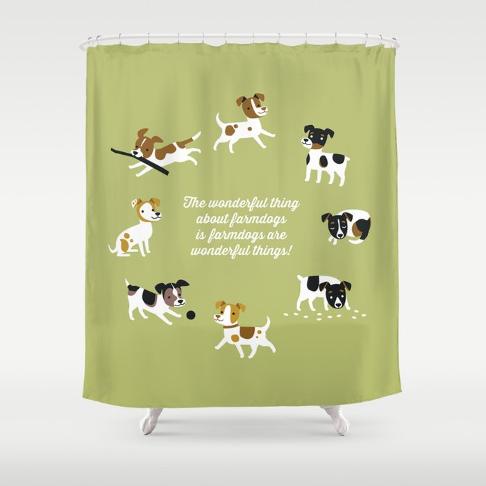Farmdogs are wonderful things Shower Curtain