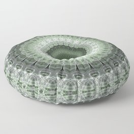 Mandala in green and gray tones Floor Pillow
