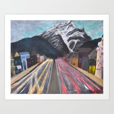 Snowy Mountain and Busy Streets Art Print