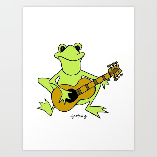 Frog with guitar Art Print