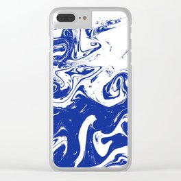 Marble blue 4 Suminagashi watercolor pattern art pisces water wave ocean minimal design Clear iPhone Case
