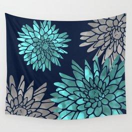 Floral Chrysanthemum Modern Navy Aqua Wall Tapestry