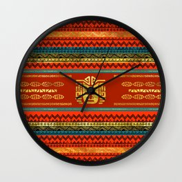 Golden  Ethnic Mask on Bright Tribal Pattern Wall Clock