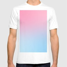 Pink blue Mens Fitted Tee MEDIUM White