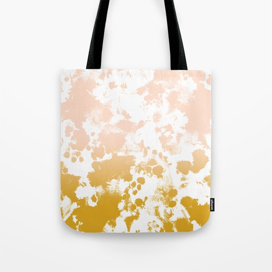 Minimal modern ombre gold to pastel pink abstract art pattern gender neutral Tote Bag