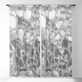 Silver Mirrored Mosaic Sheer Curtain