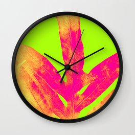 Green and Ultra Bright Coral Fern Wall Clock