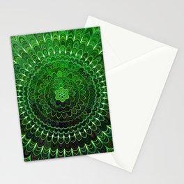 Green Flower Mandala Stationery Cards