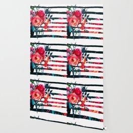 Bohemian pink orange blue black watercolor stripes floral Wallpaper