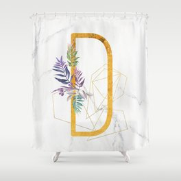 Modern glamorous personalized gold initial letter D, Custom initial name monogram gold alphabet prin Shower Curtain