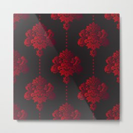 Beautiful damask elements in gothic style red on black Metal Print