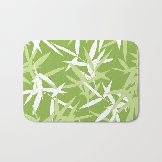 Green Bamboo Leaves Unique Pattern Bath Mat