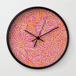 Marigold Lino Cut, Batik Pink And Orange Wall Clock