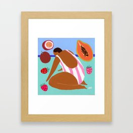 Pink papaya passionfruit Framed Art Print