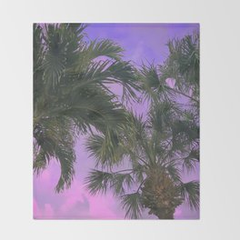 Purple Sky Palms Throw Blanket