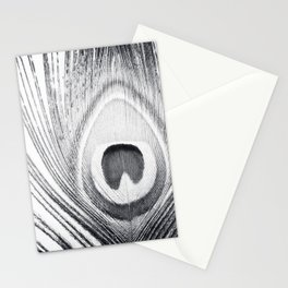 Black and White Peacock Feather Photography, Grey Nature, Neutral Gray Feathers Stationery Cards