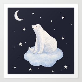 white bear on the cloud Art Print