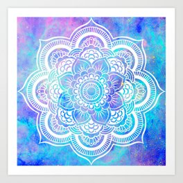 Mandala Pink Lavender Aqua Galaxy Space Art Print