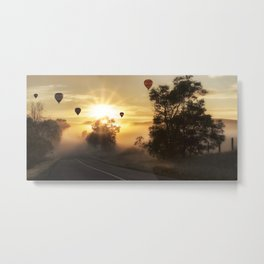 Hot Air Balloons on a Foggy Morning Metal Print