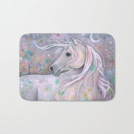 Twinkling Lights Unicorn Fantasy Watercolor Art by Molly Harrison Bath Mat