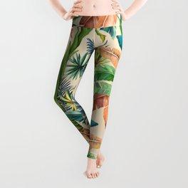 Palm Life, tropical palm leaves, Hollywood Regency, green, orange Leggings