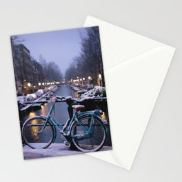 Amsterdam Bike in the Snow Stationery Cards