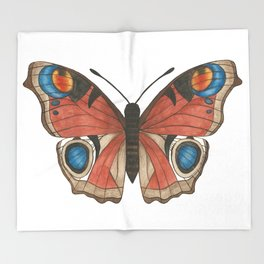 Peacock Butterfly Illustration Throw Blanket