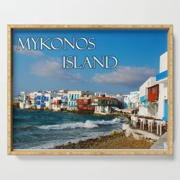 Seaside Cafe on Mykonos Island Greece Serving Tray