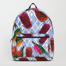 Australian Native Flowers - Grevillea and Beehive Ginger Backpack