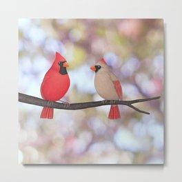 psychedelic cardinals bokeh Metal Print