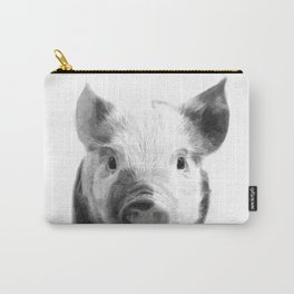 Black and white pig portrait Carry-All Pouch