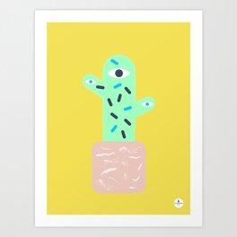 Yellow cactus with pink pot Art Print
