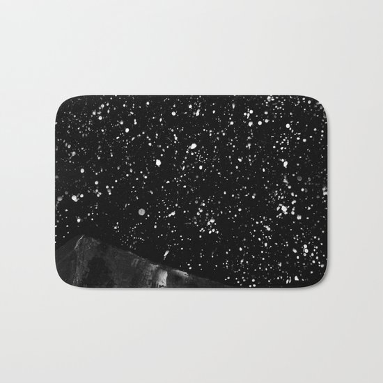 Moon Rising in the dark Black and White Bath Mat