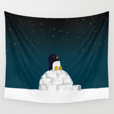 Star gazing - Penguin's dream of flying Wall Tapestry