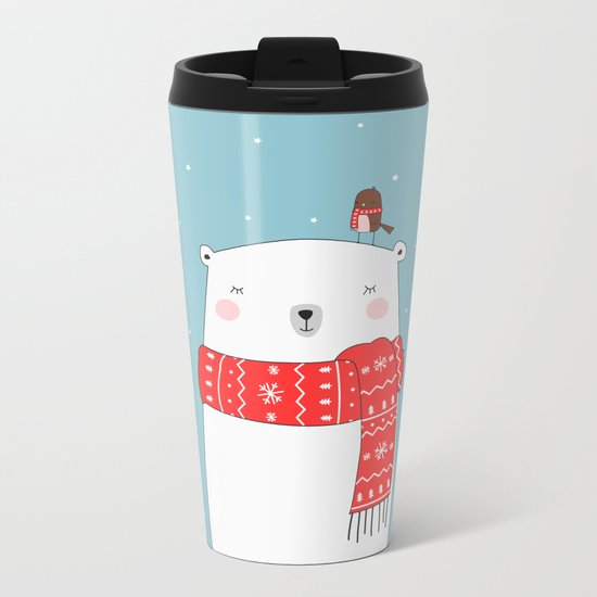 POLAR BEAR&LITTLE BIRD CHRISTMAS Metal Travel Mug
