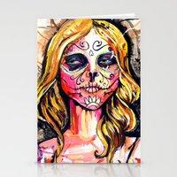 dia de los muertos Stationery Cards featuring Dia De Los Muertos by Liz Haywood