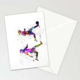 Girls playing soccer football player silhouette Stationery Cards