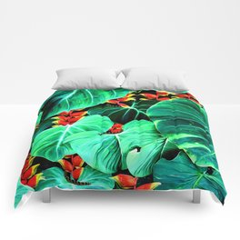 Bright Tropical Jungle Print With Caterpillars Comforters